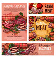 pork and beef meat sausages ham salami bacon vector image