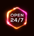 retro neon sign open 24 7 3d light hexagon frame vector image vector image