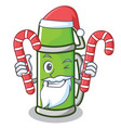 santa with candy thermos character cartoon style vector image vector image