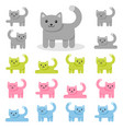 set of colorful cat icons isolated on white vector image