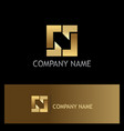 square line gold technology logo vector image