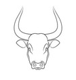 stencil stylized bull outline on white vector image