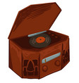 vinyl record player listening to music on tape vector image vector image