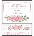 Wedding invitation cards setWatercolor pink roses vector image vector image