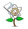 with flag jasmine flower mascot cartoon vector image