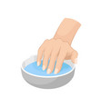 woman s hand in bowl with water vector image