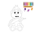 Coloring page Happy monkey with banana vector image