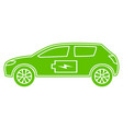 green hybrid car icon electric powered vector image