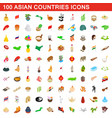 100 asian countries icons set isometric 3d style vector image