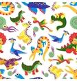 Cute baby dinosaurus pattern Dinosaur cartoon vector image