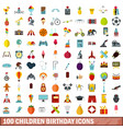100 children birthday icons set flat style vector image vector image