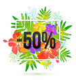 50 percents discount banner template on vector image