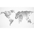 abstract world map of radial lines vector image vector image