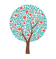 apple tree apple day card poster design vector image