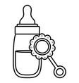 babottle milk with maraca vector image vector image