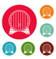 beer barrel icons circle set vector image vector image