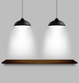 Black ceiling lamps with shelf template vector image