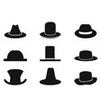 black gentleman hat icons vector image