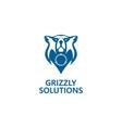 blue bear head logo vector image vector image