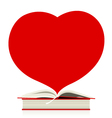 Book and heart design on white design vector image