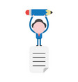 businessman character standing on written paper vector image