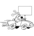 Cartoon dog driving a car and holding a sign vector image vector image