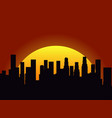 city landscape on a sunset background silhouette vector image