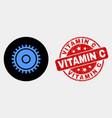 cog icon and distress vitamin c seal vector image vector image