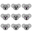 collection cartoon koala faces vector image