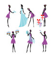 colorful bridesmaids set vector image