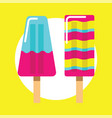colorful ice cream icon on yellow vector image vector image