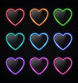 colorful neon heart banners set on transparent vector image