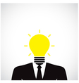 Creative light bulb with human head symbol vector image