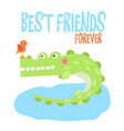 cute crocodile on tropical vector image