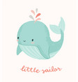 cute whale with little sailor hand vector image
