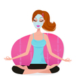 cute young woman with facial mask doing yoga pose vector image vector image