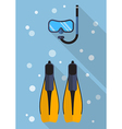 Diving mask with snorkel and swimming flippers