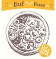 Drawn italian pizza label hot fresh sketch vector image