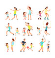 fitness family parents and kids training together vector image vector image
