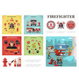 flat firefighting colorful composition vector image