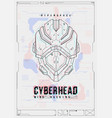 futuristic poster with a robot head template for vector image vector image
