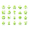 garden simple green gradient icons set vector image