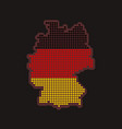 germany dotted map in colors of flag on black vector image