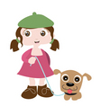 girl with dog friend vector image