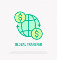 global transfer money moving around globe vector image vector image