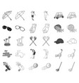golf and attributes monochromeoutline icons in vector image