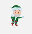 green santa claus pointing to something funny on vector image vector image