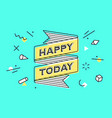 happy today vintage ribbon banner and drawing vector image vector image