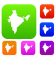 indian map set color collection vector image vector image