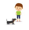 little boy with dachshund vector image vector image